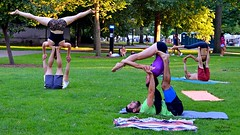 Different Moves (FrogLuv) Tags: annarbormichigan summer aa a2 streetphotography candid 2016annarborartfairs yoga universityofmichigan uofm michigan