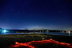 Night Sky 2 (gh2010ism) Tags: sky camping stars blue sand water lights playground nikon d750 recent