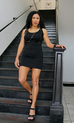Edna on Stairs (California Will) Tags: edna latina beauty beautiful ybor city florida fl tampa sheer blackdress legs