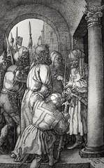 Phillip Medhurst presents John's Gospel: Bowyer Bible print 5527 Jesus is taken to Annas John 18:13 Durer (Phillip Medhurst) Tags: john johnsgospel gospelaccordingtojohn gospel jesus christ jesuschrist bowyerbible bible bibleillustration durer annas trial arrest passionofchrist
