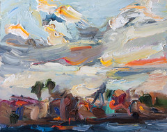 Seascape with Colorful Clouds (http://annafineart.net/) Tags: expressionism imprrssionist contemporary modernart gallery artstudio spanish spain pleinair oilcolors mixed mixedmedia modern landscape landscapes seascape cartagena annafineart sea port boat boats seaport seascapes abstract abstractart abstractpainting dibujo pintura surrealista art arts painter dailypainter artist oil painting paintings fineart finearts oilmedia oilpainting impasto seafront clouds waves