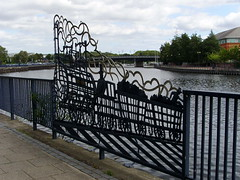 Locomotion river (Nekoglyph) Tags: stocktonontees teesside publicart metal fence river tees locomotionno1 stephenson heritage locomotive stocktontodarlington railway steam coal