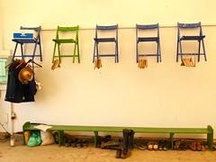 Hats, coats and shoes (Kumukulanui) Tags: cloakroom portugal community intentionalcommunity ecovillage simplicity tamera