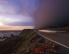 Outrace the Deluge (RZ68) Tags: rain shower storm coast sonoma county california sea ocean dark ominous clouds sunset waiting water plants ice road street highway 1 pch beach car light trails long exposure rz67 velvia provia e100 bay area north