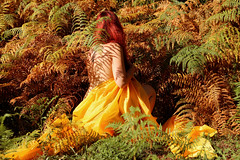 The awakening of the Autumn (stefaniebst) Tags: automne autumn fall selfportrait autoportrait woman girl femme redhair redhead yellow jaune fougre fern bracken forest foret conceptphoto conceptualphotography fineart fineartphotography portrait portraiture light lumire sunlight nature naturescene naturescape naturelover shadow ombre awekening veil season saison colorful color nude art artistic arige outdoor outdoorportrait woods woodland