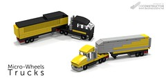 Micro-Wheels: Trucks (deConstructor's) Tags: lego ldd micro scale microscale truck tractor trailer vehicle yellow black custom gray grey
