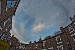 Horse shoe sky. (CWhatPhotos) Tags: street city blue houses sky cloud fish eye up clouds canon that lens prime photo focus skies foto looking durham with view angle image photos pics terrace wide pic images row fisheye have photographs photograph fotos manual which contain neville terraced 65mm aspherical opteka primelens cwhatphotos