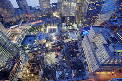 16 acres of world trade centers in August  2011 (Tony Shi.) Tags: world from above new york city nyc building church st night port 1 bay construction memorial crane path district air 4 authority 7 ground center aerial cranes national wtc trade financial zero wfc ctr centers 2011 fidi
