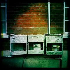 Gas meters, Belsize Road (Simon Crubellier) Tags: city uk england london europe britain camden noflash iphone londonist simoncrubellier johnslens hipstamatic bigupfilm