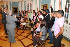 Youth Ambassadors asking questions (State in the Americas) Tags: reunion youth america community dominican republic clinton stock central ann service secretary roberta ambassadors assistant jacobson
