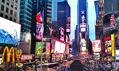 Times Square, NY (Arutemu) Tags: street city nyc travel urban panorama usa signs ny newyork sign night evening us cityscape view nightscape nightshot dusk manhattan scenic scene midtown nighttime timessquare citylights nightview scenes nuit hdr nightstreet nuevayork ニューヨーク сша ньюйорк ニューヨークシティ