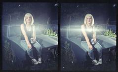 Ritzy 3D 004cross (Onelog Photography) Tags: light sunset chevrolet film girl car female truck moving 3d sitting smoke calm grill chevy third late pbr pabst gif junkyard smoker dimension tough lenticular pinup strobe ritzy threedimensional nishika ritzyriot