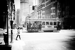 Trammin' (stephen cosh (on holiday)) Tags: life sanfrancisco california street leica city people blackandwhite bw sepia mono town candid streetphotography tram rangefinder bayarea siliconvalley streetcar reallife humancondition blackandwhitephotos 50mmsummilux blackwhitephotos leicam9