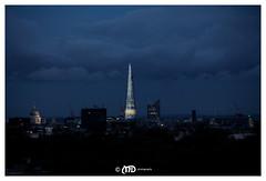 Low clouds, tall Shard (La_Marghe) Tags: nightphotography sunset sky storm london clouds skyscraper canon landscape grey lights evening twilight primrosehill shard yabbadabbadoo top20london eos550d