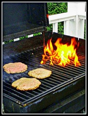 Burgers On The Grill - Photo by STEVEN CHATEAUNEUF - July 3, 2011 (snc145) Tags: food meat beef hamburg burgers three fire grill cookout party fourthofjuly photo photos photography colors porch stevenchateauneuf july32011 summer cholesterol flame flames original delicious