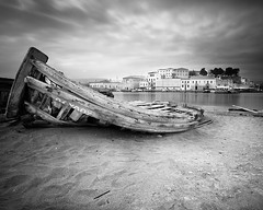 Where Boats Die.. (Peter Levi) Tags: city longexposure blackandwhite bw seascape blancoynegro water clouds boat sand greece le crete wreck chania boatwreck nd110 bestcapturesaoi elitegalleryaoi mygearandme mygearandmepremium mygearandmebronze dblringexcellence tplringexcellence eltringexcellence