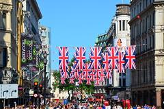 D7K_1854 Flags for the Jubilee, Trafalgar square, London (David Dawson Photography) Tags: street plaza bridge sky london eye westminster thames night square jack hotel big ben jubilee year union may trafalgar flags 2012 gettyjubilee