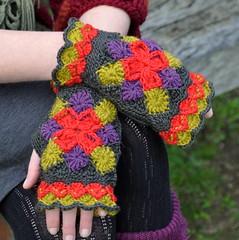 Bavarian Mitts: long version (Kiwi Little Things) Tags: crocheted grannysquare mitts bavariancrochet