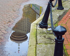 Harbour Centre at my feet (Peggy2012CREATIVELENZ) Tags: canada tree vancouver moss bc chain sidewalk posts gastown lookouttower rainwater cobbledstreet dampness puddlereflection peggy2012creativelenz img6801c