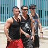 Mike 'The Situation' Sorrentino, Pauly Delvecchio, Vinny Guadagnino out and about on location for filming for 'Jersey Shore' in Seaside Heights. Seaside Heights, USA