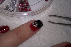 Simple DIY Nail Art Designs: Easy Red and Black Nail Design with Rhinestone Flowers (DIYNailArtDesigns) Tags: simplenailart simplenailartdesign diynailartdesigns nailartdiynailartredandblacknailartrhinestonesnailartrhinestoneflowers