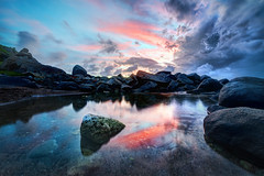 The Edge of Virgin Gorda (Stuck in Customs) Tags: travel sunset sky reflection nature water pool clouds digital photography reflecting islands blog hi