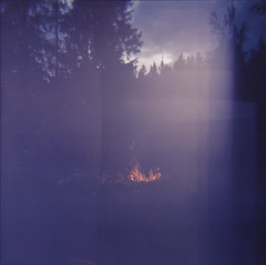 Norway through film (Part of series - 5) (Mathijs Delva) Tags: old film nature norway vintage fire holga lomo lomography woods rocks hiking doubleexposure slide slidefilm retro pinhole campfire faded expired 120mm holgagraphy finnemarka