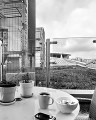 morning coffee in london (Harry Halibut) Tags: roof bw plants green london blancoynegro coffee smart mobile branco breakfast table blackwhite triangle phone stadium air screen preto emirates zwart wit weiss bianco blanc nero allrightsreserved unit ashburton muesli noire conditioning seedum  noiretblac schwatz     contrastbysoftwarelaziness arsenall 2012andrewpettigrew london1207072446
