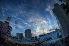 Day 193/366 : Sunset over Ageo Station (hidesax) Tags: light sunset sky sunlight building station bike japan clouds nikon raw parking jr lit saitama hdr ageo sigma15mmf28exdgdiagonalfisheye 5xp hidesax d800e nikond800e day193366sunsetoverageostation