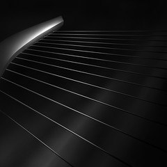 like a harp's strings V - strings (Julia-Anna Gospodarou) Tags: city bridge urban blackandwhite bw white abstract detail metal architecture square construction nikon metallic tripod athens pylon greece cables calatrava wired harp tamron tension modernarchitecture santiagocalatrava 2012 manfrotto hoya longshutterspeed blacksky nd400 organicshapes manfrotto055xprob bw106 nikond7000 juliaannagospodarou siruik20x tamronaf18270mm3563pzd