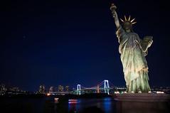 Statue of Liberty in Tokyo (GLIDEi7) Tags: japan night tokyo sony   odaiba nightview daiba statueofliberty  tokyobay   nex       bayoftokyo  odaibakaihinpark e16mmf28 sel16f28 nex5n