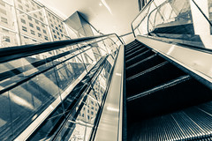Riding Escalators, Shoot To the Ceiling II (Mabry Campbell) Tags: windows usa motion lines reflections photography march us movement crossprocessed downtown texas unitedstates unitedstatesofamerica escalator perspective houston 100 escalators tunnels leading canonef1740mmf4lusm squarecrop 2012 f50 leadinglines 17mm ef1740mmf4lusm sec mabrycampbell march222012 ridingescalators 201203226225