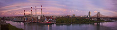 Queens side view from Roosevelt Island (bruno_mesmin) Tags: nyc newyorkcity bridge sunset sky water colors clouds manhattan queens eastriver powerplant queensborobridge rooseveltisland longislandcity coned skycraper conedison queensbridge queenscounty