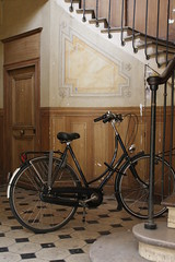 Bicycle at the foot of a Staircase (noriko.stardust) Tags: old trip paris france century market near passages royal july covered palais passage 19th 2012 archade 1823 courverts