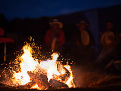 drumming by the fire (broddi) Tags: pink mountain canada youth drums bc native first elder gathering drumming aboriginal nations metis indigenous nenan