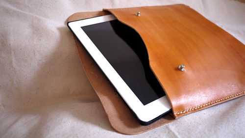 handmade, dyed & sewn leather ipad case