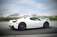 White Ferrari 458 Spider (Axion23) Tags: white cars coffee 35mm spider nikon italia ferrari nikkor panning tracking irvine 458 d5100