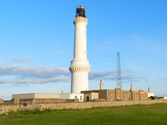 Girdle Ness Lighthouse, Aberdeen Harbour, July 2012 (allanmaciver) Tags: blue light sky lighthouse white tower history mystery evening scotland stevenson aberdeen height ness 1833 girdle admire lighthousetrek allanmaciver