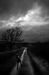 walking home (Ray Byrne) Tags: boy blackandwhite bw dark mono monotone alnwick northumberland lane stick raybyrne byrneoutcouk webnorthcouk