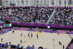 Great Britain v Canada - a wide block (zawtowers) Tags: horse canada men london beach 50mm warm view angle cloudy britain great crowd wide july games parade third match spike volleyball 28 olympic olympics guards 2012 themall fifty nifty london2012 teamgb afsnikkor50mmf18g