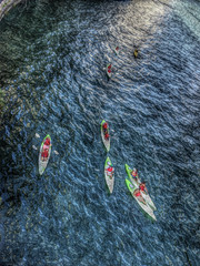 8 Kayaks on the Chicago River (doug.siefken) Tags: bridge summer chicago beautiful river day michigan july 8 sunny east avenue em kayaks 4s count 2012 facing iphone painteresque iphoneography