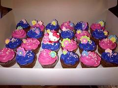 Hello Kitty cupcakes by Cathy P. www.birthdaycakes4free.com