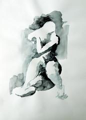 fat nude hurt by light by silvia.cherneva - watercolor