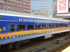 Iraq War Memorial MBTA Train Car (quiggyt4) Tags: usa boston america train war stripes flag massachusetts iraq transportation transit soldiers mbta patriotism commuterrail veterans southstation usarmy bostonist dreamteam ronpaul starspangled teamusa ows supportthetroops occupy 5photosaday planetizen occupywallstreet