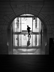 All the beauty in life are made up of light and shadow (ivnseow) Tags: silhouette victoria singapore theatre shadows shadow back white monochrome reflection reflections mopping sweeping man cleaning people