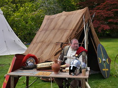 Veteran Legionarius (Karls Kamera) Tags: muncaster castle roman soldier armour tent legionary