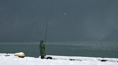 Lonley fisherman (lukabeselia) Tags: winter sea fisherman snow
