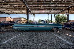 1959 chevrolet impala (pixel fixel) Tags: 1959 blue chevrolet chevroletcarclub convertible impala oldiessanfernando sanfernandohighschool sideview turquoise