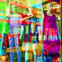 Bus stop queue (Lemon~art) Tags: bus busstop queue mannequins waiting summer colourful manipulation reflections