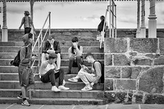 Five guys and their phones (TheodoreWLee) Tags: stone xpro2 teens ireland 35mmf2 dublin smartphone dünloughrae hoodie blackandwhite fujifilm stairs